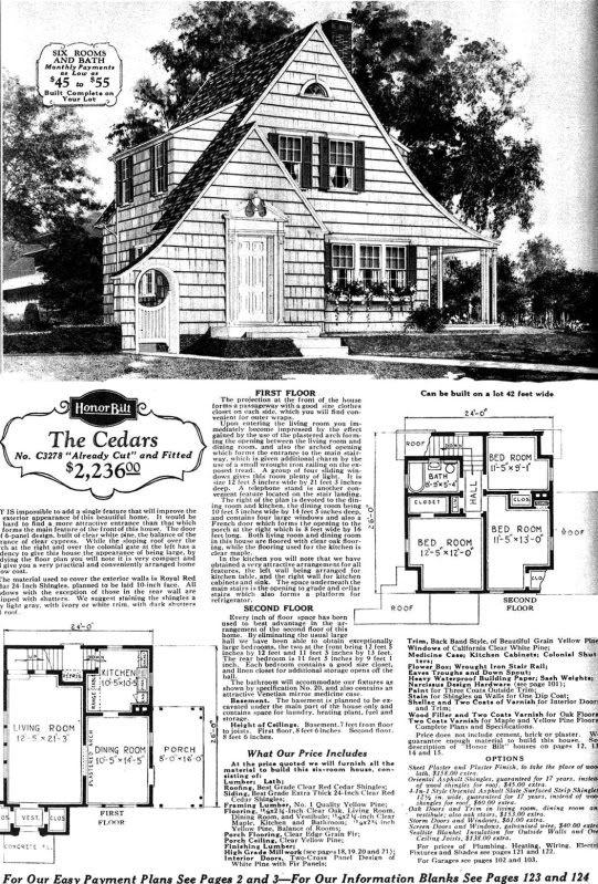 Sears Cedars from the 1929 Sears Modern Homes catalog. Sears Nantucket 1939 13719A 13719B   1940    6  Gabled roof 1 1 2