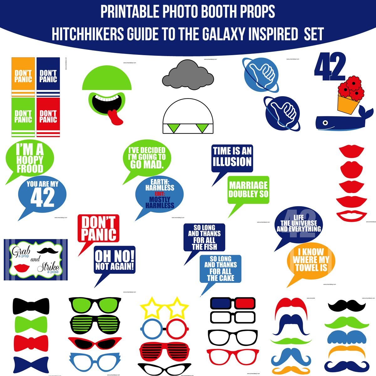 Instant Download Hitchhiker's Guide to the Galaxy Inspired Printable Photo Booth Prop Set — Amanda Keyt DIY Photo Booth Props & More!