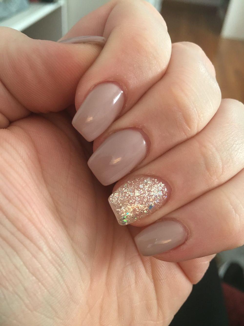 Classy Tan Nude Acrylic Nails With Silver Accent Nail So Pretty