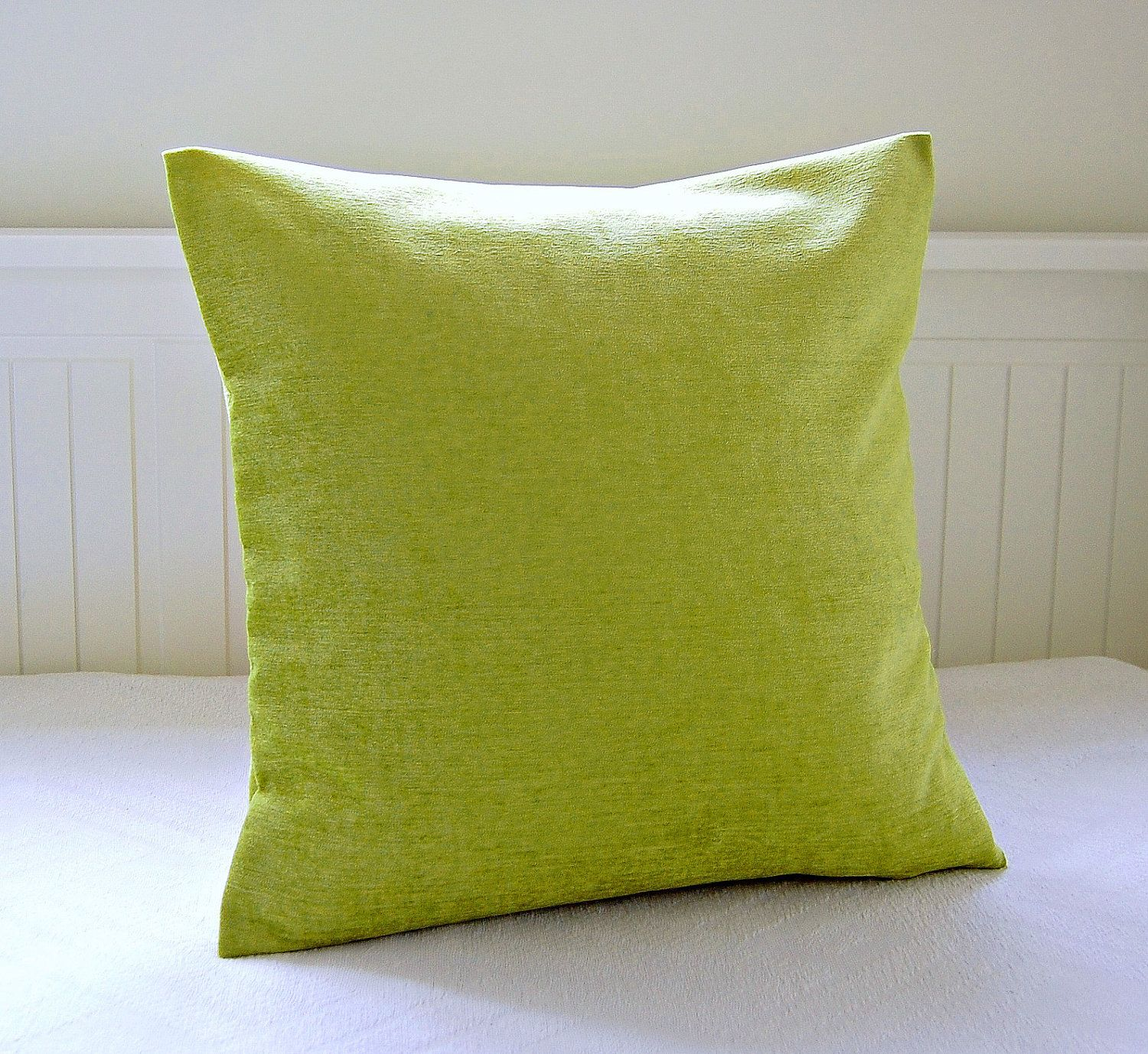 lime green accent cushion cover velvet chenille 18 inch. Black Bedroom Furniture Sets. Home Design Ideas
