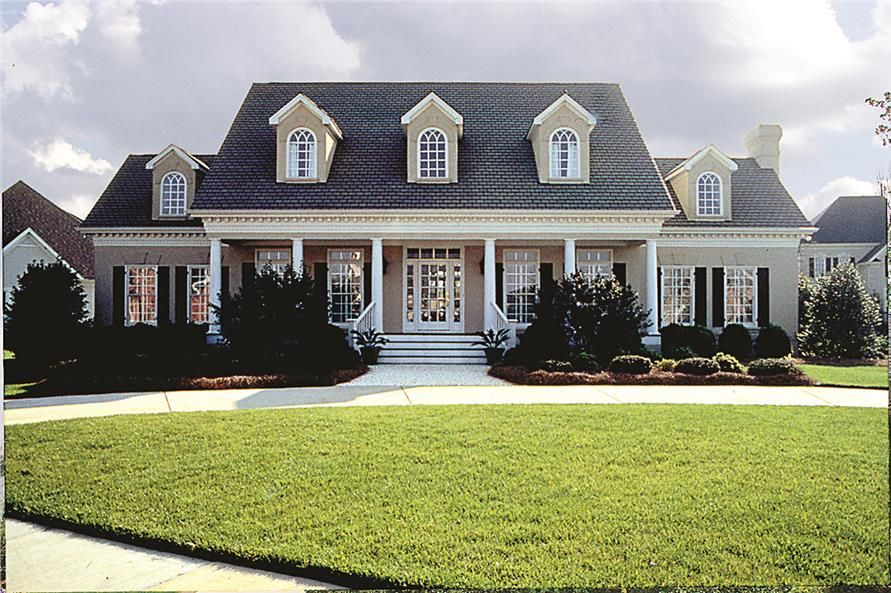 a 2-story, 4-bedroom modern plantation style home plan has the