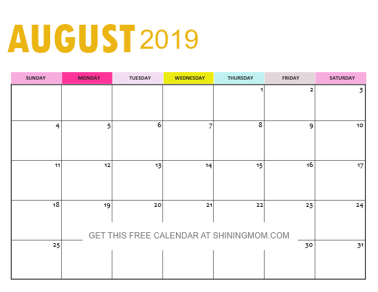picture relating to Printable Calendar Aug referred to as Absolutely free 2019 Calendar in just PDF: Shiny Lovely in just Gold Concept