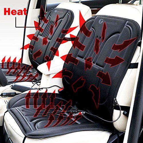 Zone Tech Car Heated Seat Cover Cushion Hot Warmer - 2-Pack 12V ...