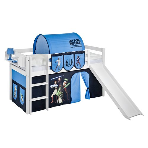 Just Kids Jelle Mid Sleeper Bed With Bottom Bunk Curtain