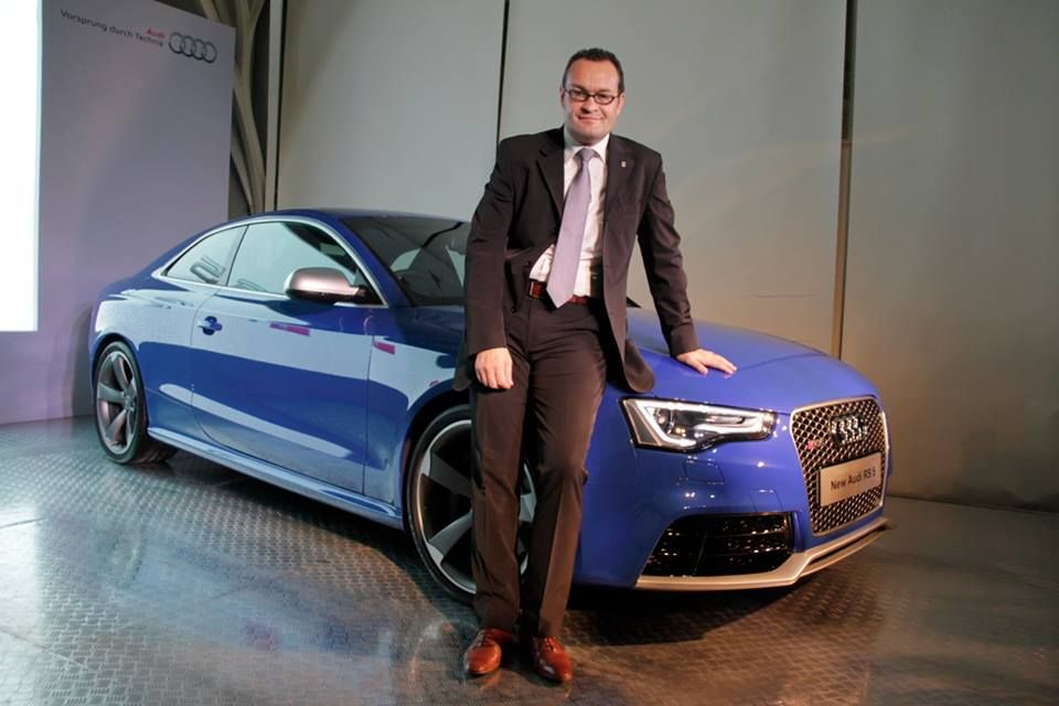 Audi India CEO Michael Perschke and Audi Racing star Aditya Patel at the launch of the new Audi RS 5.