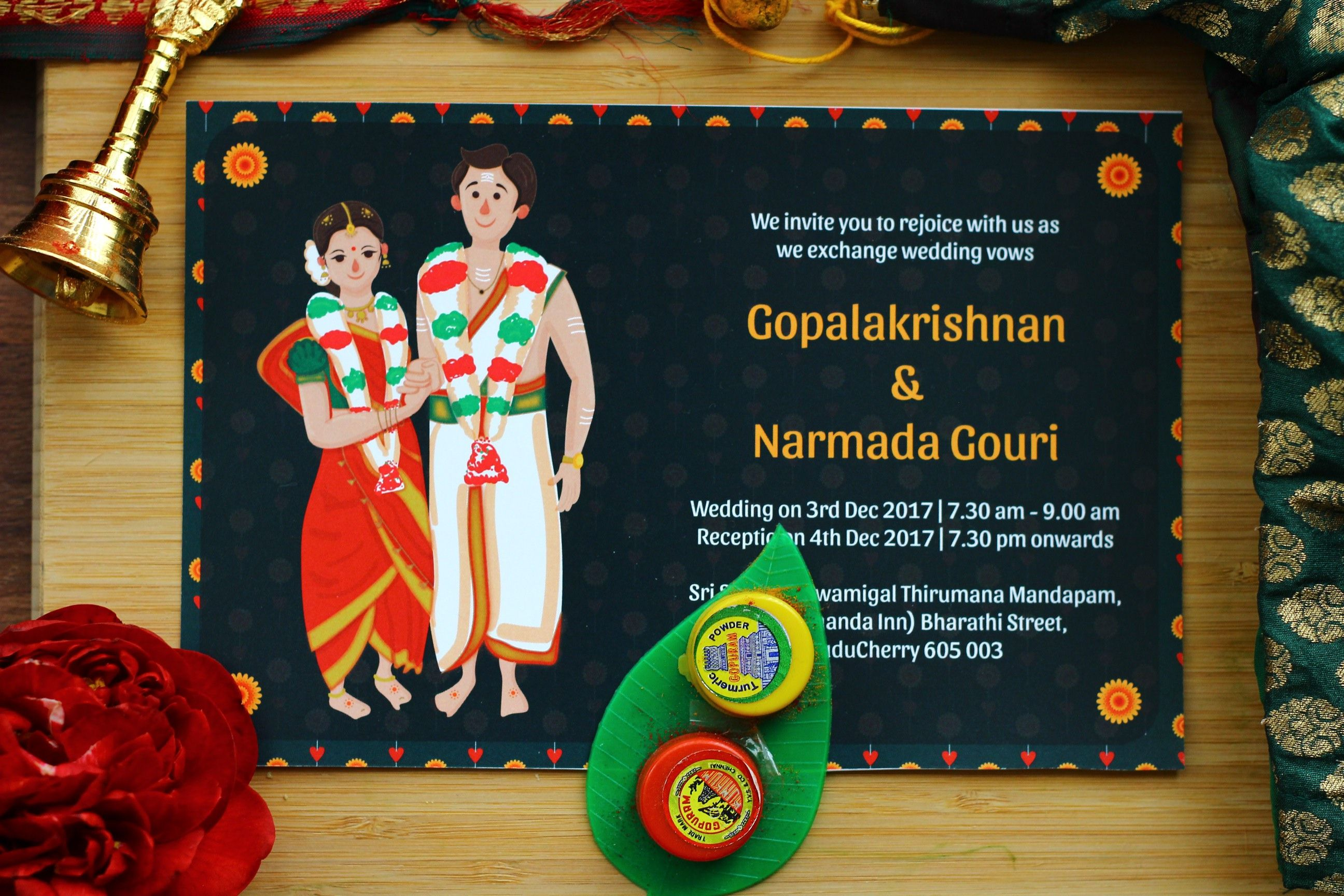 A Fun Customized Tambrahm Wedding Invitation Illustrated To Shou Illustrated Wedding Invitations Traditional Wedding Invitations Wedding Invitation Card Design