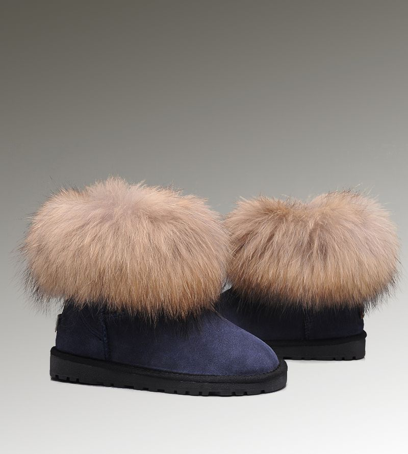 6e2dd1ef7ab UGG Mini Fox Fur 5854 Navy Boots | Women UGG Fox Fur Boots | Uggs ...