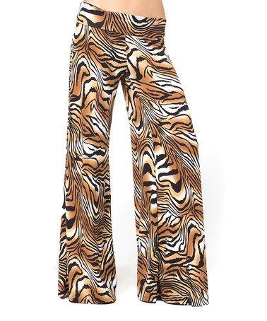 Black & Brown Tiger Palazzo Pants by BOLD & BEAUTIFUL #zulily #zulilyfinds