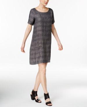 6e0e4315d9 Eileen Fisher Organic Linen Shift Dress - Blue XXS