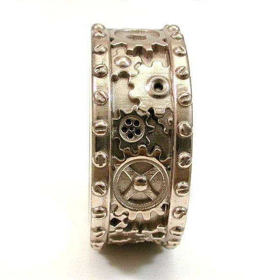 Mens 14k Palladium White Gold Gear Ring With Rivets