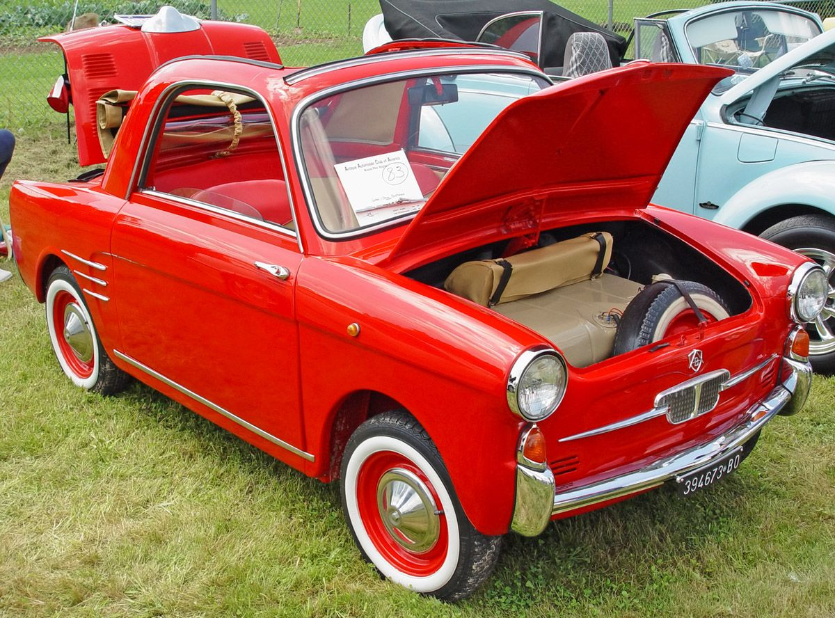 1957 Autobianchi Red Hood Trunk Up Front Angle Cute Cars Car Humor Fiat 500
