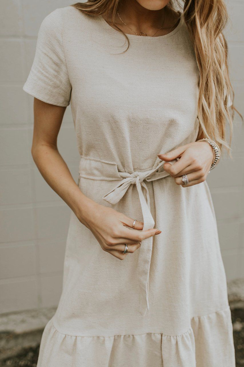 5776fe353dc This neutral-colored linen dress is the perfect addition to a minimal  closet! The Hanover Linen Dress features short sleeves