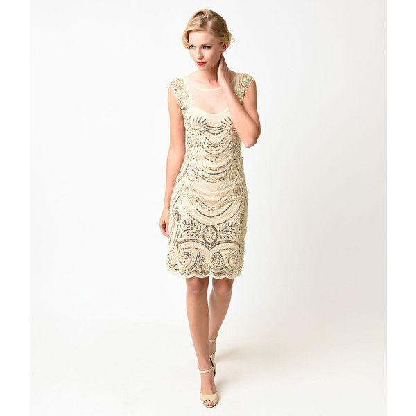 Gold Beaded Short Cocktail Dresses