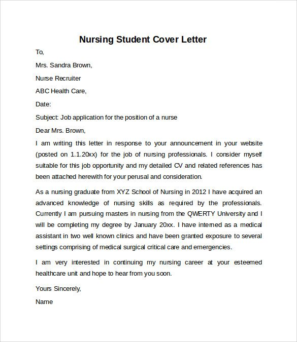 Nursing Cover Letter Example Download Free Documents Pdf Best For