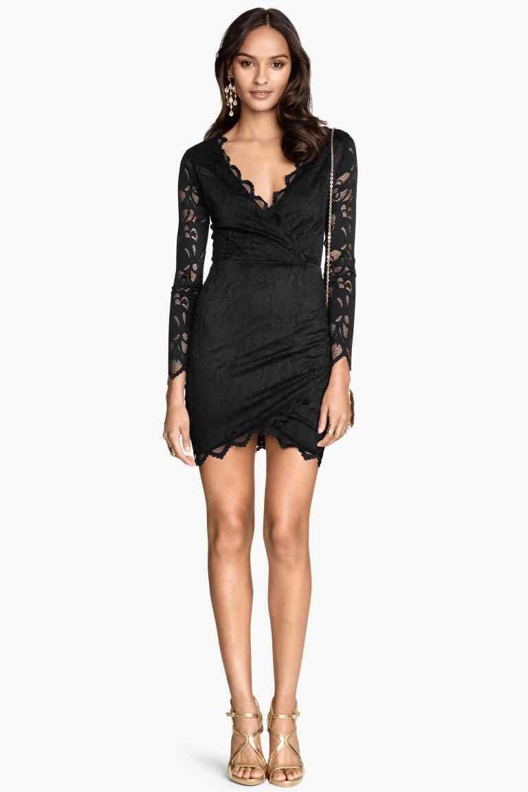 robe noir dentelle hm manche longue
