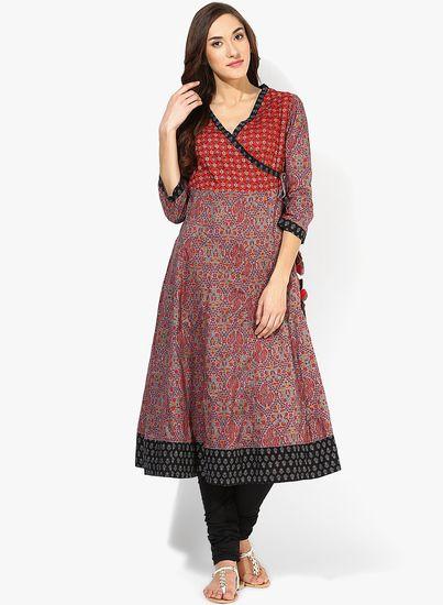 244939fd6b9 Red Printed Kurta - Vishudh Kurtas   kurtis for women