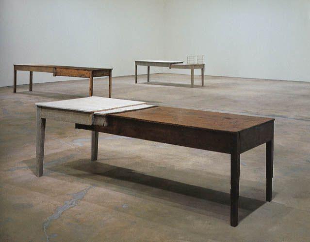 Doris Salcedo, Unland, 1998  Wood, thread and hair  Object: 800 x 750 x 3150 mm  Tate, London