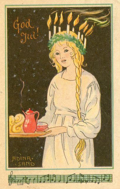 Santa Lucia by Adina Sand ~ Vintage Swedish Christmas card …