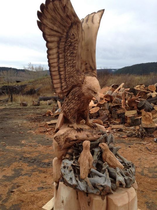 Eagle and baby eagles carved by ryan cook carver kings