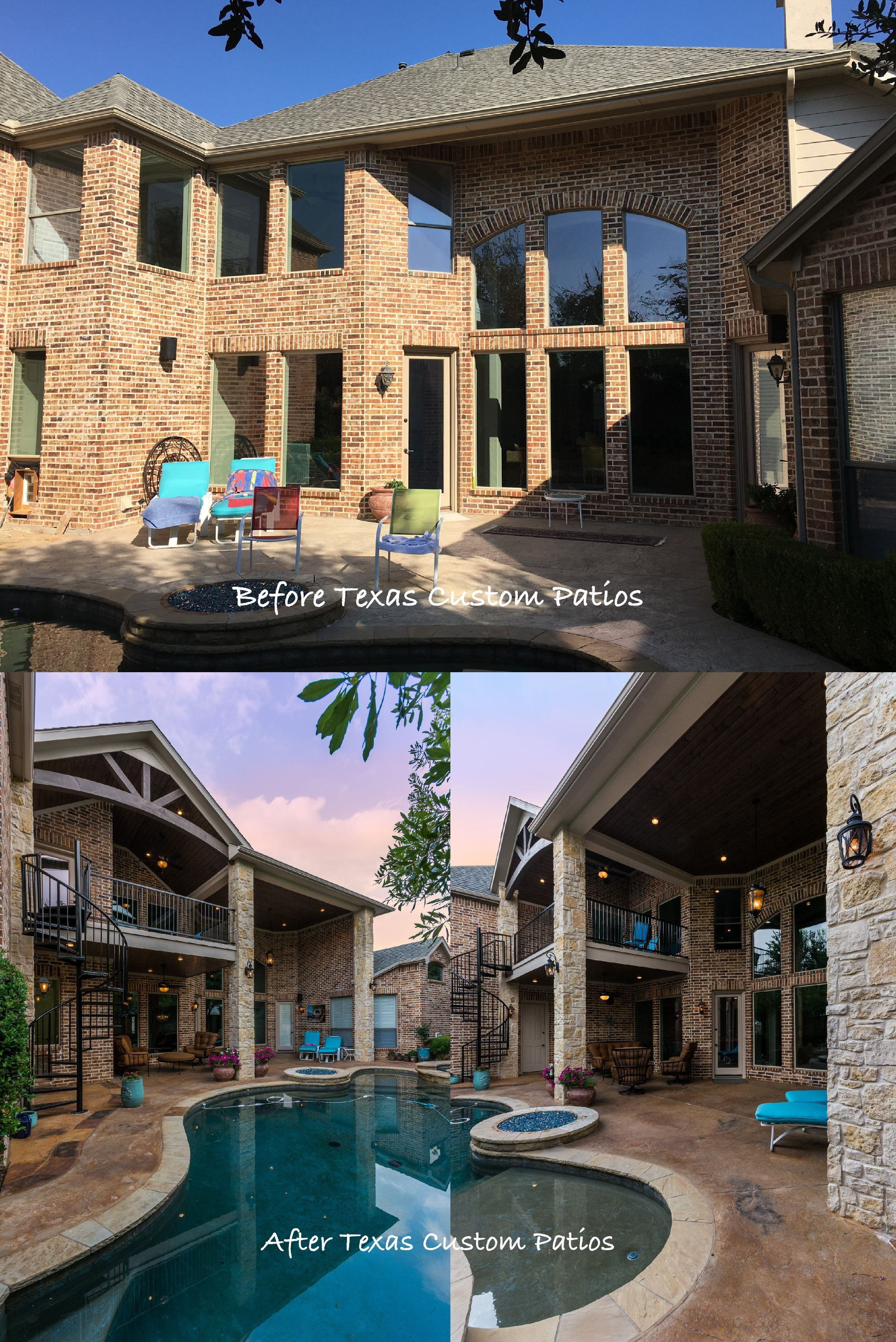 Balcony With Upper And Lower Living Spaces In Frisco Dream Patio Patio Covered Backyard