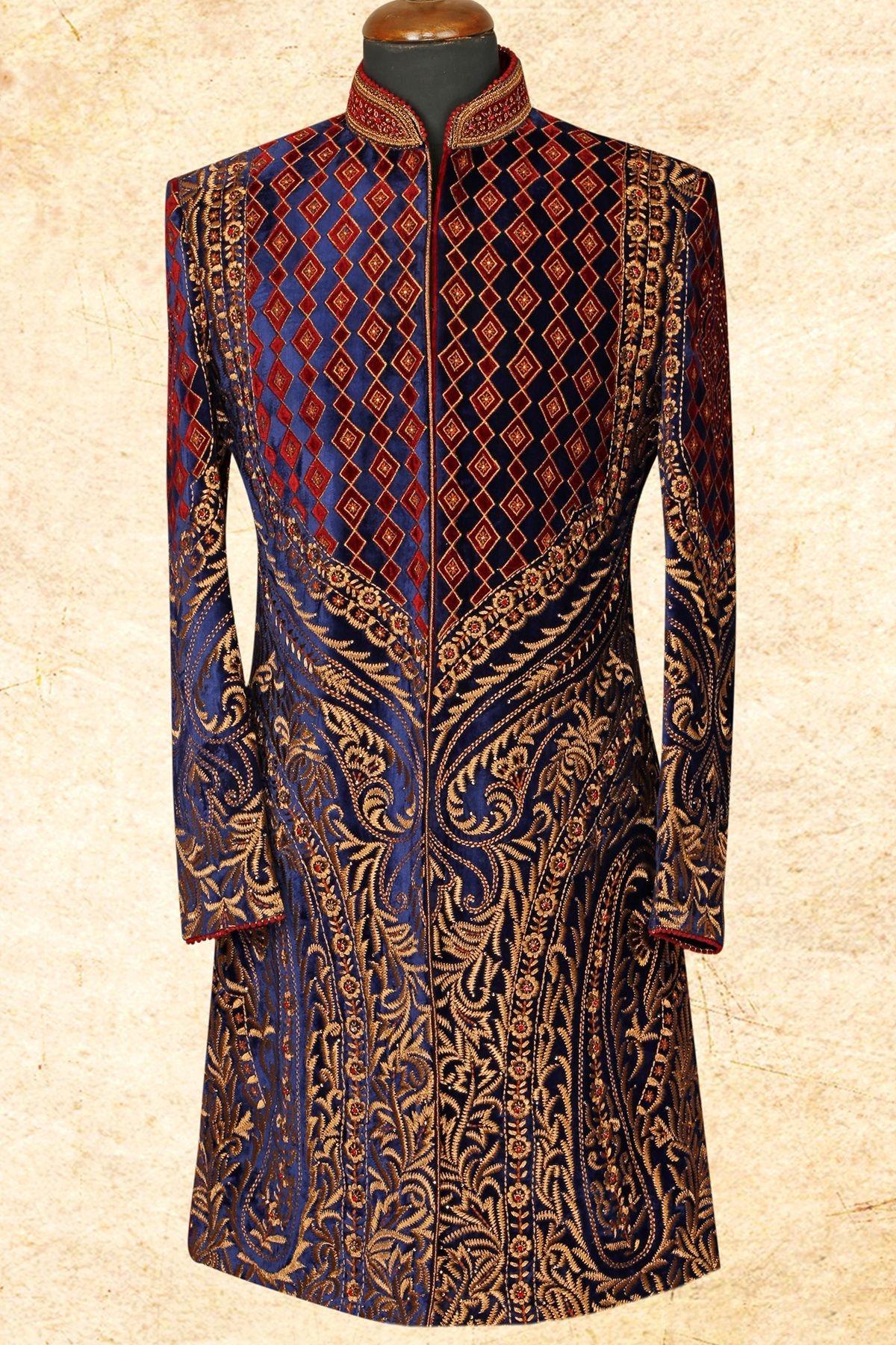 Blue velvet resham embroidere wedding sherwaniiw wedding
