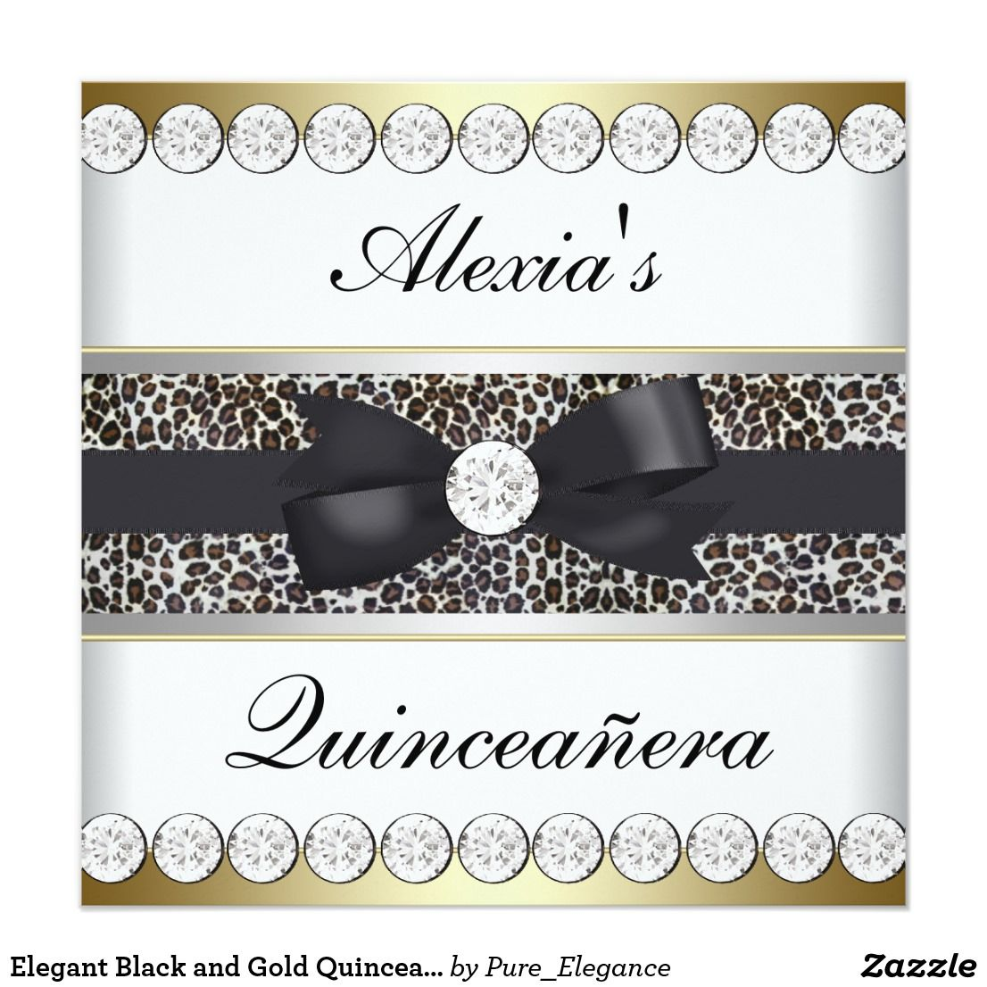 Elegant Black and Gold Quinceanera Card | Quinceanera invitations ...