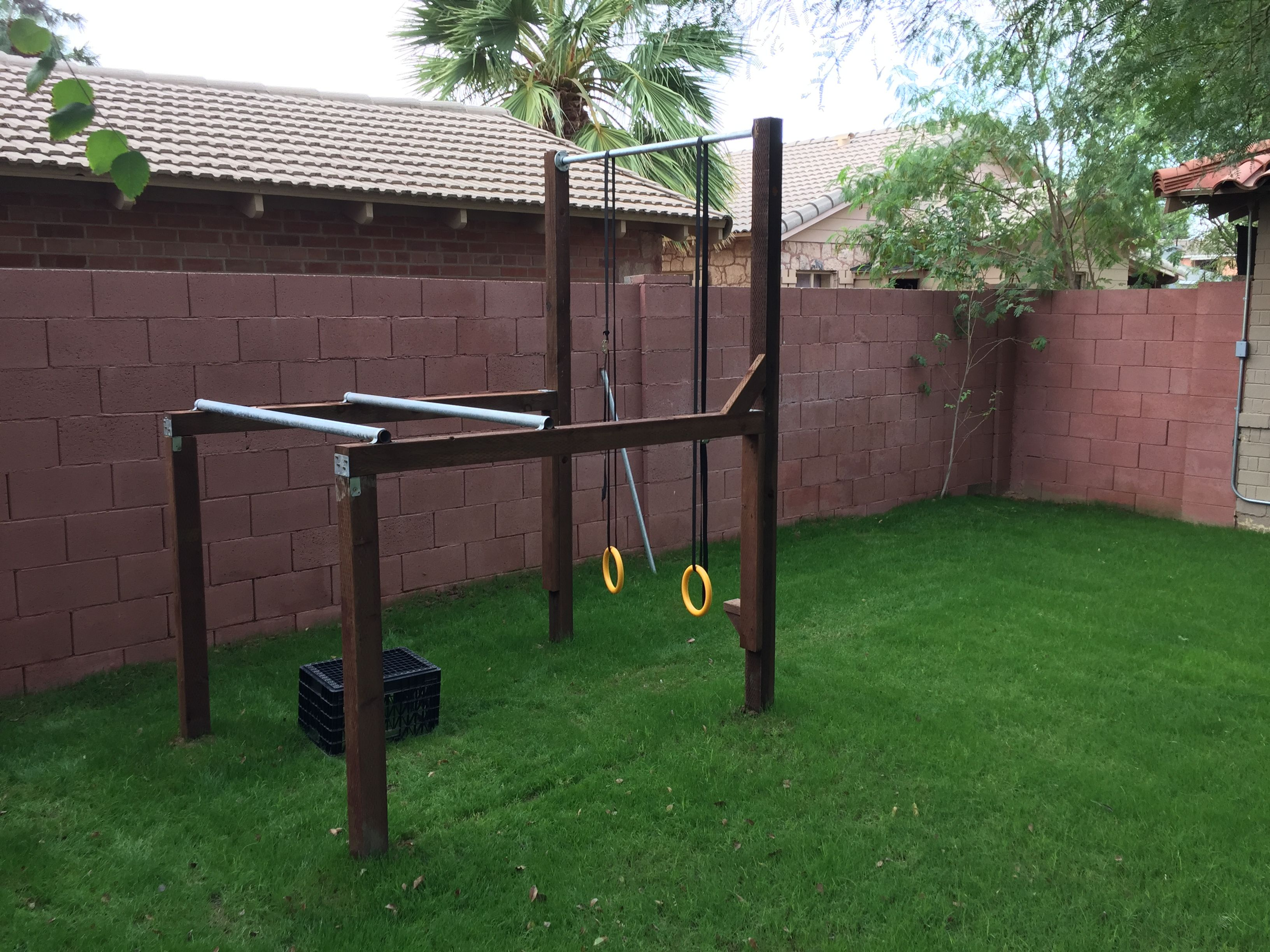 Calisthenics home gym rings dip pull up homemade