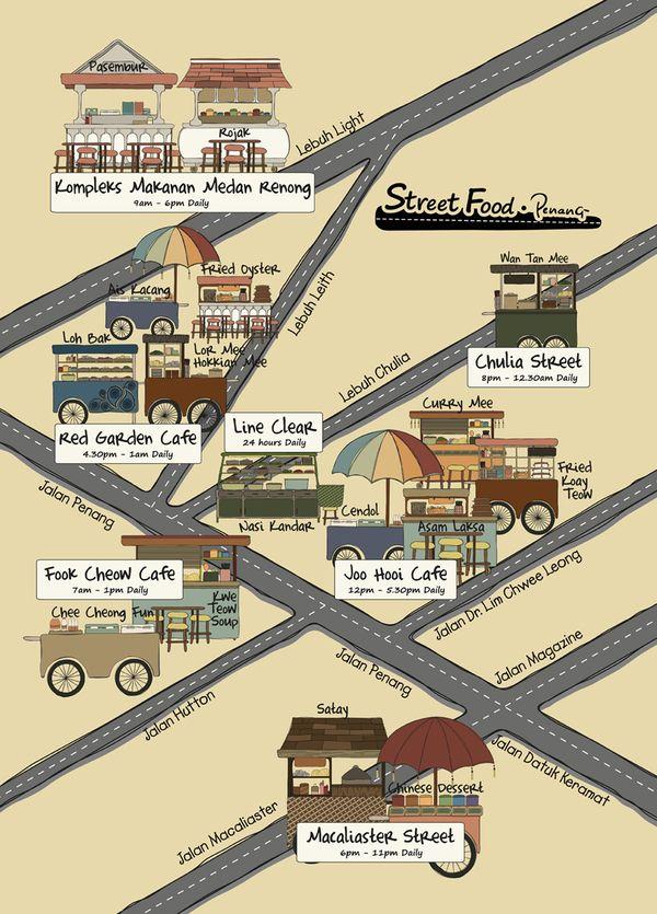 Street food map of penang by ferawaty ranti malaysia pinterest street food map of penang by ferawaty ranti sciox Choice Image