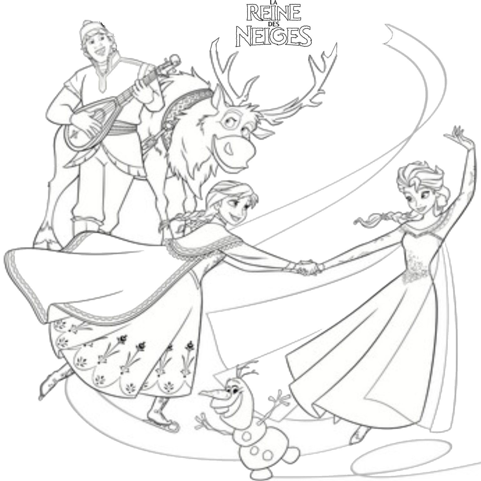 Coloriage Princesse A Imprimer Reine Des Neiges.Coloriage La Reine Des Neiges La Fete Coloriage Enfant Princess