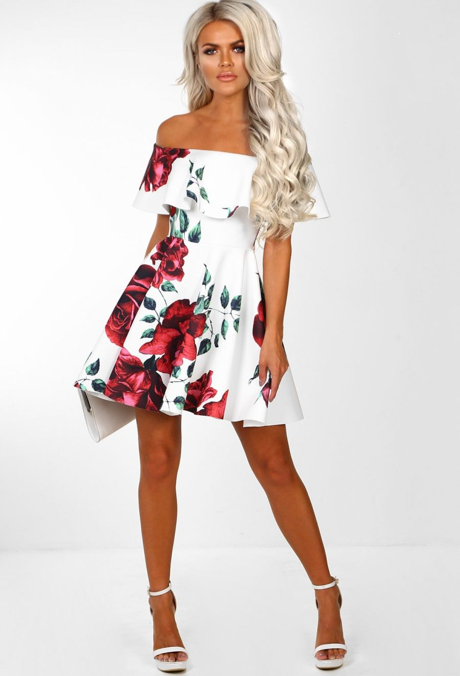 26ffb3ce Model Girlfriend White Floral Bardot Skater Dress | Pink Boutique
