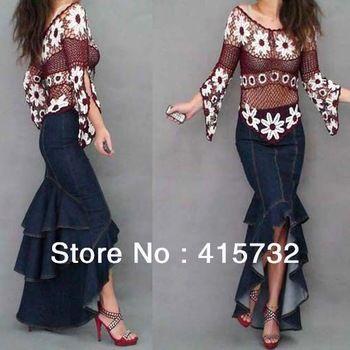 90d8d0f26a5 Free Shipping 2013 New Denim Plus Size Women Skirt Layered Ruffles Long  Maxi Skirt Jeans High Low Mermaid Style Fashion Skirts