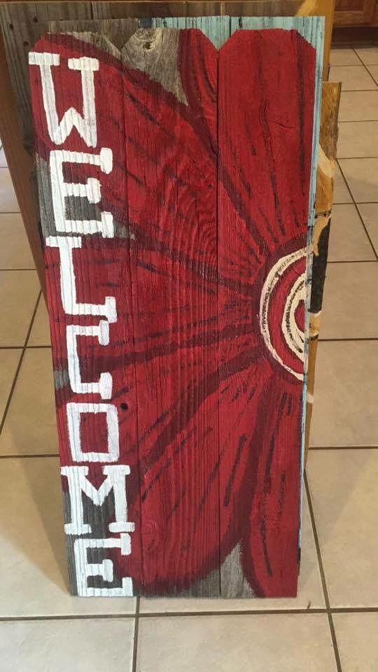 Hand Painted Pallet Wood Signs. Welcome Signs. Pallet Wood ...