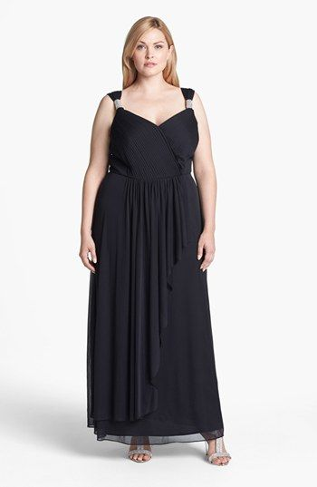 Alex Evenings Embellished Pleat Front Faux Wrap Gown (Plus Size ...