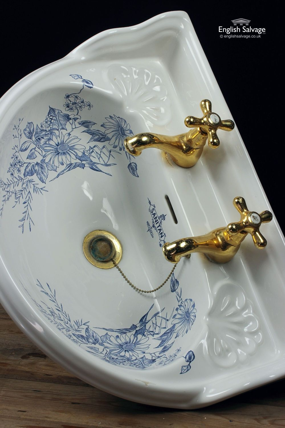 Shanks sink and stand reclaimed porcelain sinks and chrome stands - B C Sanitan Blue Floral Bathroom Suite
