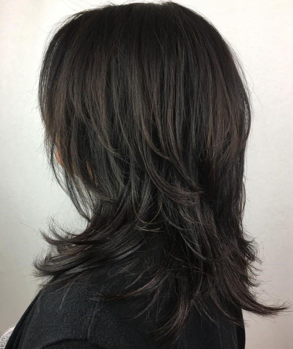 layered haircut for thick hair  long shag haircut modern