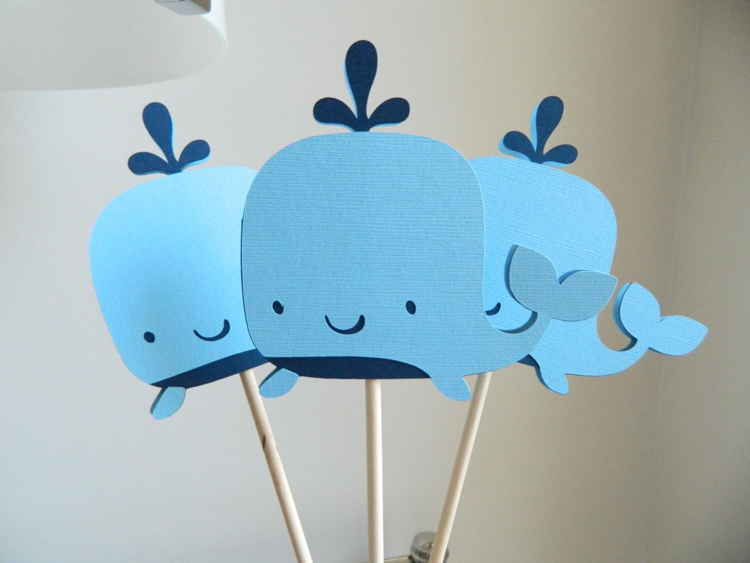 6 Whale Centerpiece Sticks, Whale Table Decor, Whale Baby Shower