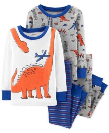 fd35b64e8 Carter s Baby Boys 4-Pc. Snug-Fit Cotton Dinosaur Pajamas Set - Blue ...