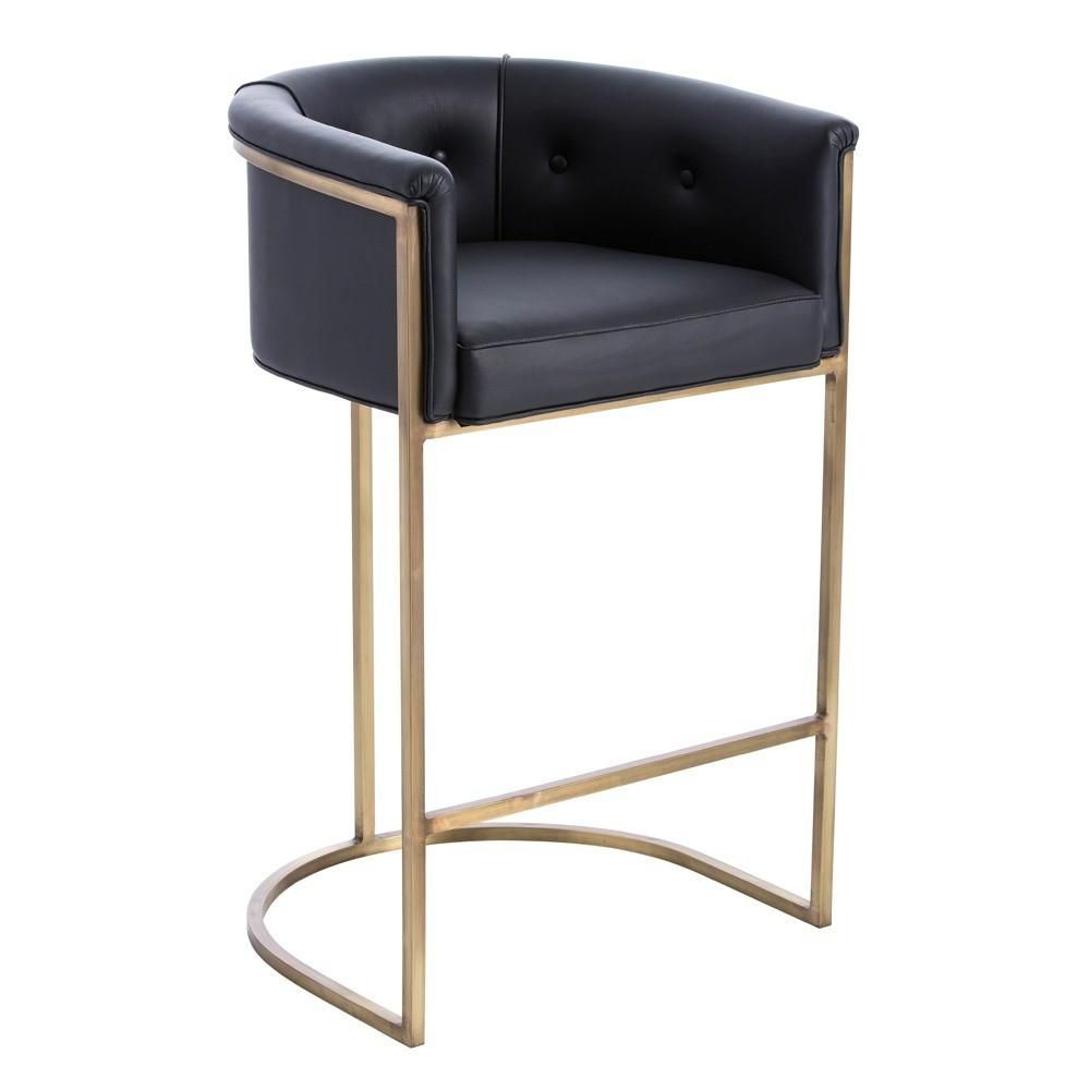 Calvin Bar Stool Black Leather And Brass Leather Bar Stools