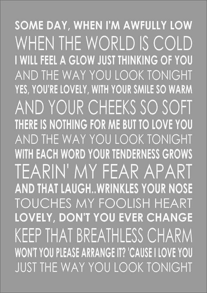 THE WAY YOU LOOK TONIGHT - FRANK SINATRA - Typography Words Song ...