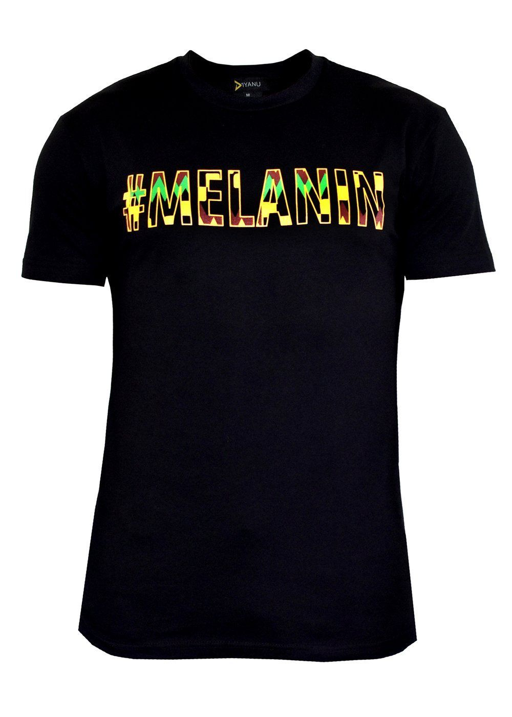 634292c90 Akono Men's Melanin African Print T-Shirt (Yellow/Black Kente ...