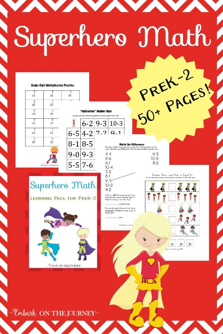 Early Learning Printable Superhero Math Activities | Math ...