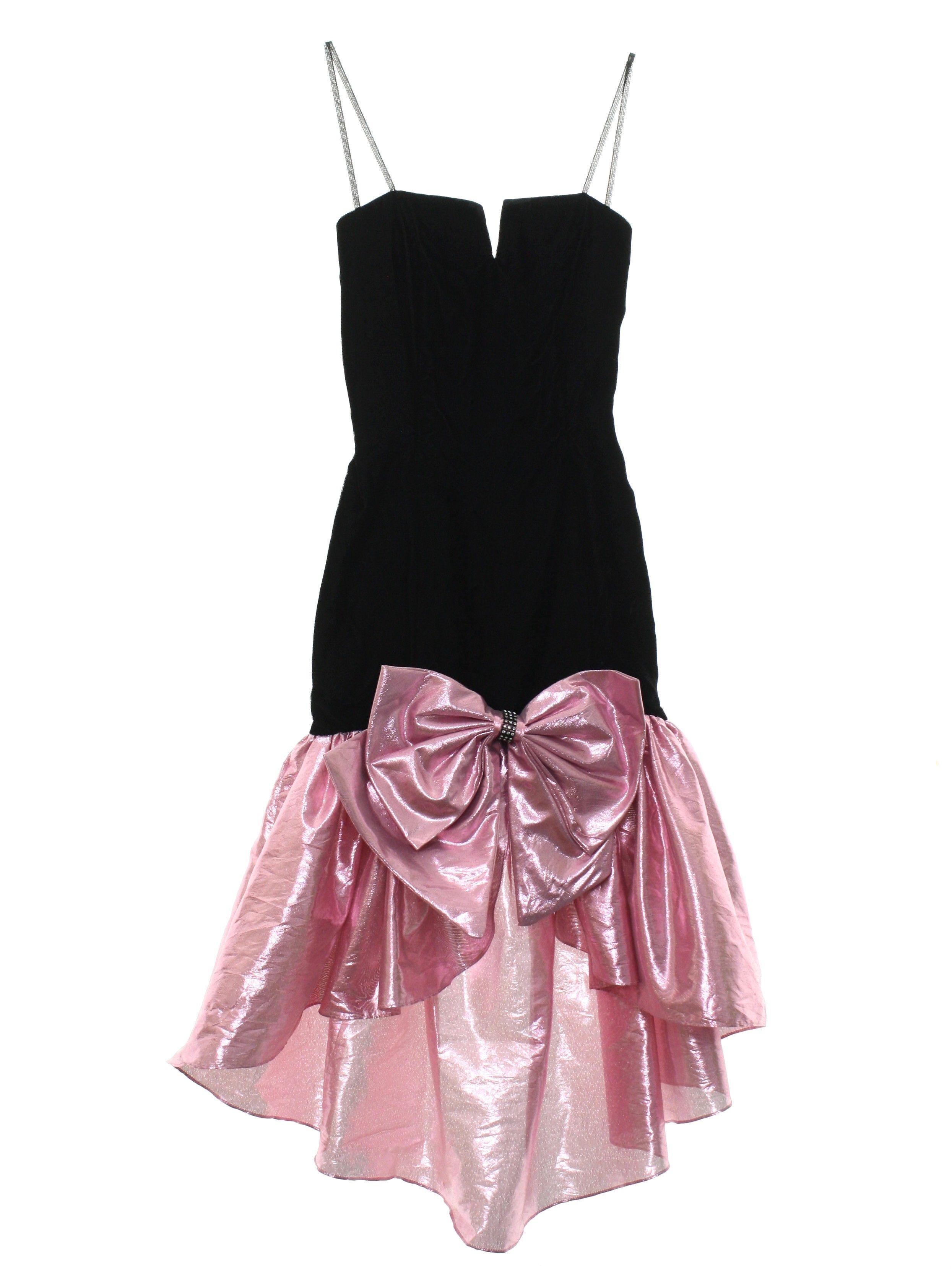80s Retro Cocktail Dress:Roberta- Girls black background rayon ...