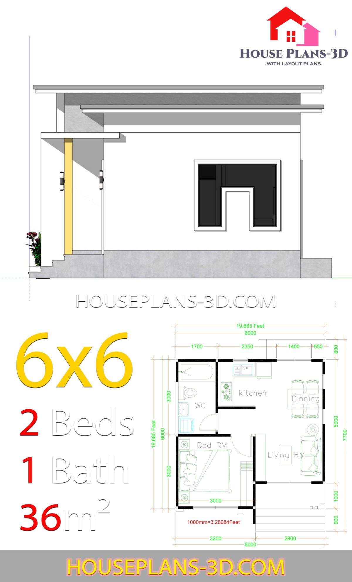House Plans 6x6 With One Bedrooms Flat Roof House Plans 3d House Plans Flat Roof House One Bedroom Flat