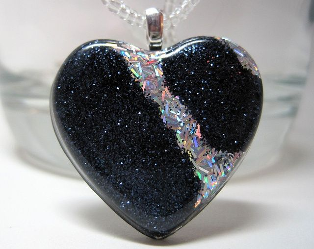 Sterling Silver With Recycled Heart Charm and Black Glitter Resin Ring