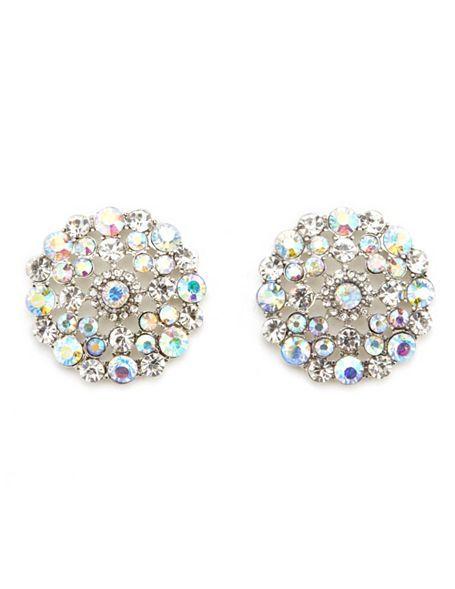 Iridescent Diamond Dome Earrings: Charlotte Russe