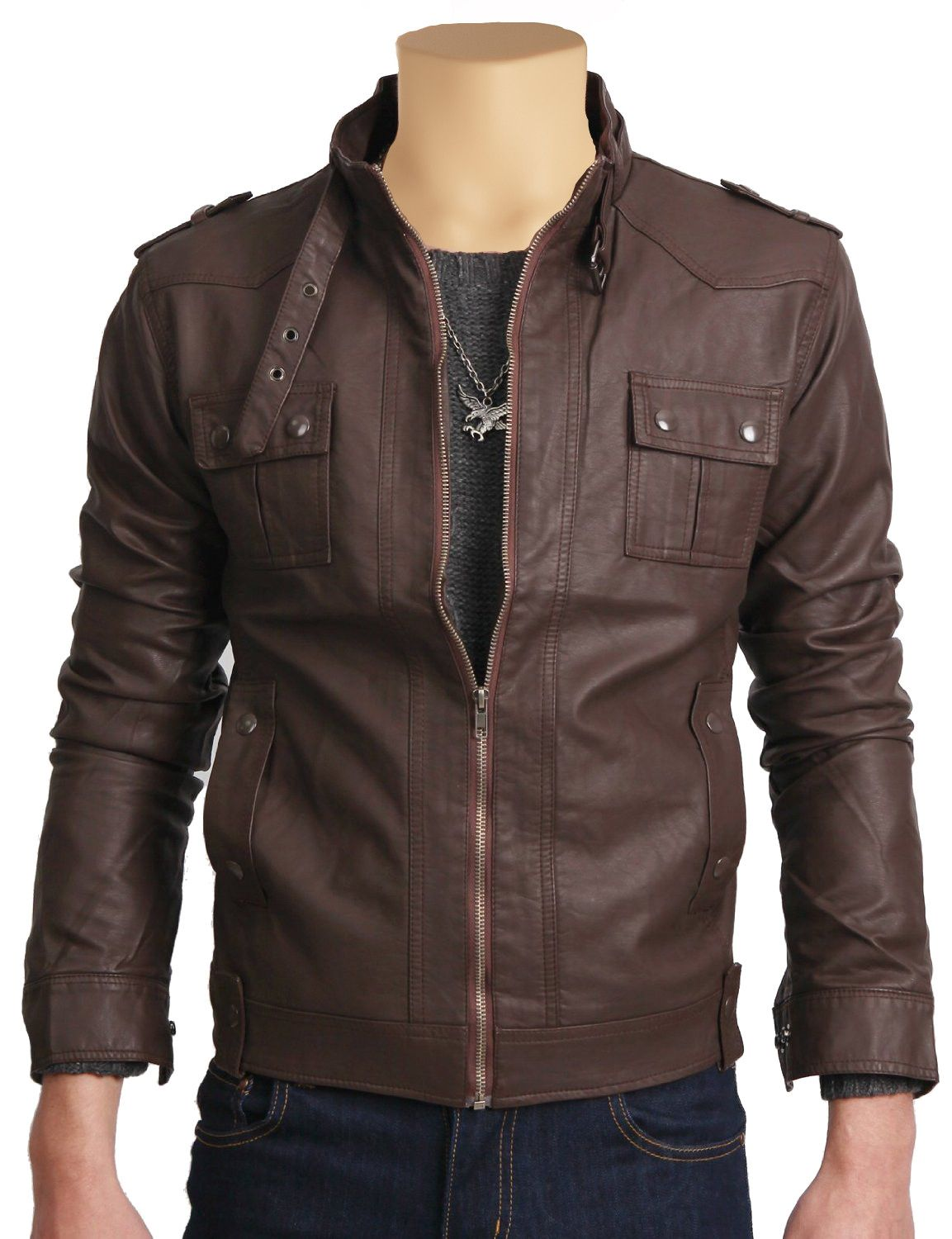 Brown Leather Jacket With Collar Belt Jackets Maker Leather Jacket Men Leather Jackets Online Brown Leather Jacket [ 1500 x 1153 Pixel ]