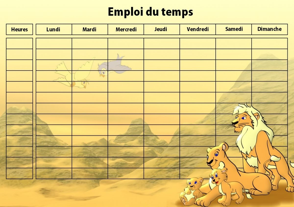 Emploi Du Temps Vide Semaine Scolaire Pour Collège Lycée