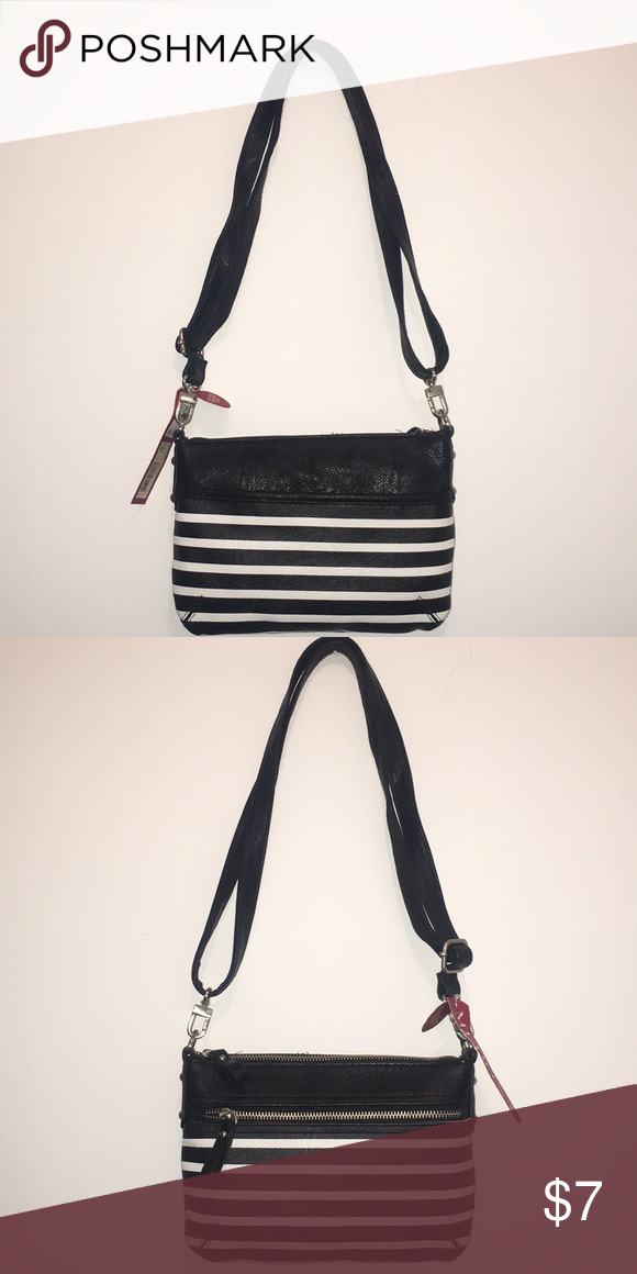 Double pocket black and white stripe purse Striped purse from target double  pockets outside and one pocket inside. Adjustable straps. 7345b121cf935