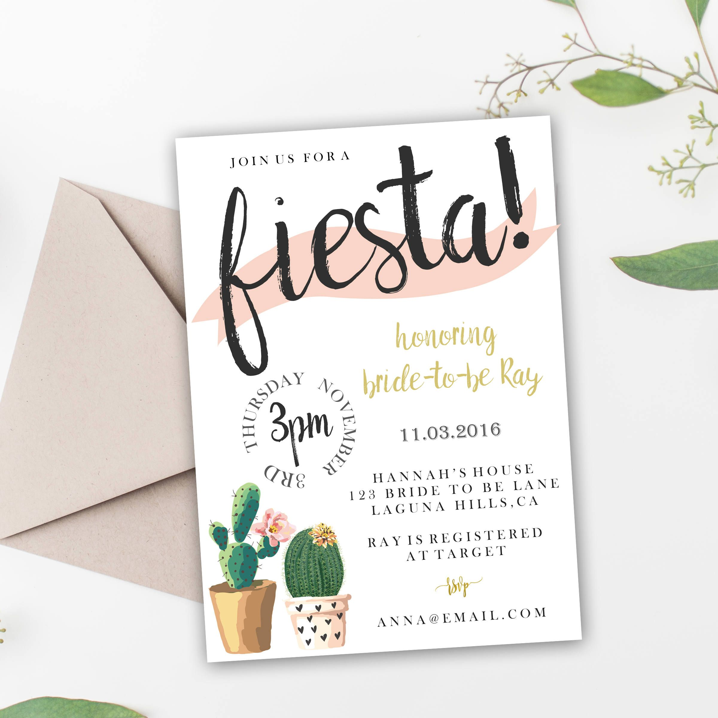 ffff393451c6 Fiesta Themed Bridal Shower Invitation