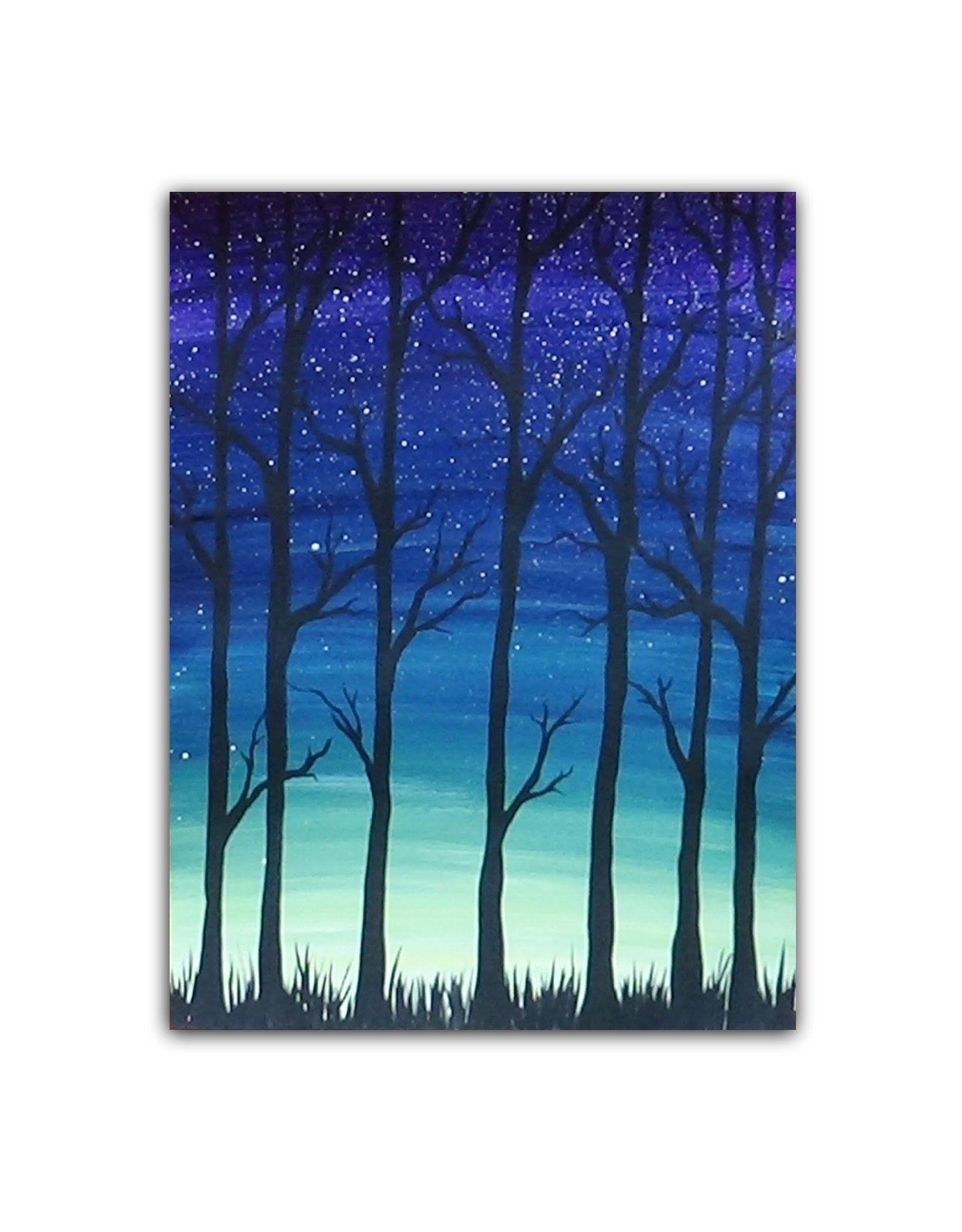 Tree Silhouette Painting : silhouette, painting, Acrylic, Painting, Simple, Trees, Silhouette, Painting,
